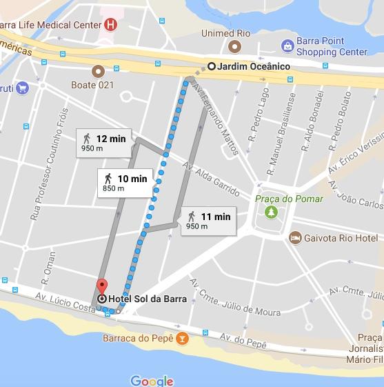 Rota da Estação Jardim Oceânico na Barra da Tiuca RJ até a praia