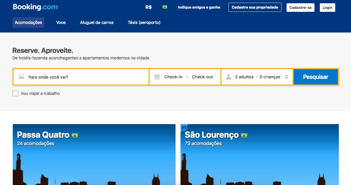 Tela inicial Booking.com